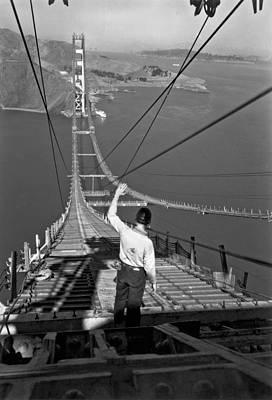 Golden Gate Bridge Worker Poster by Underwood Archives