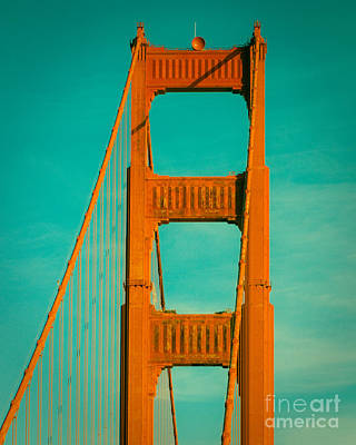 Golden Gate In Turquoise Poster by Sonja Quintero