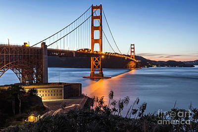 Poster featuring the photograph Golden Gate Night by Kate Brown