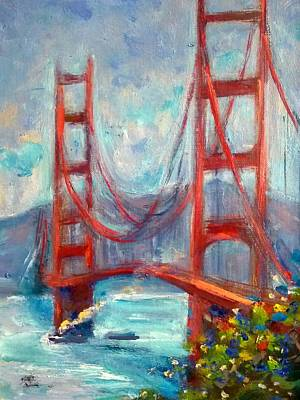 Golden Gate Oil Sketch Poster