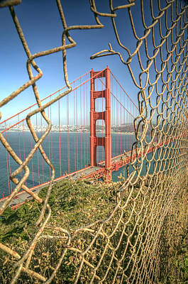 Golden Gate Through The Fence Poster by Scott Norris