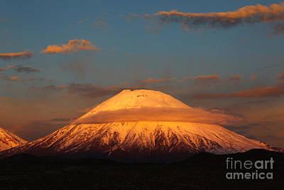 Golden Glaciers On Parinacota Volcano Poster by James Brunker