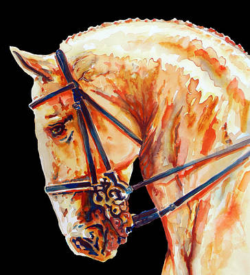 Golden Horse Head In Black Poster by J- J- Espinoza