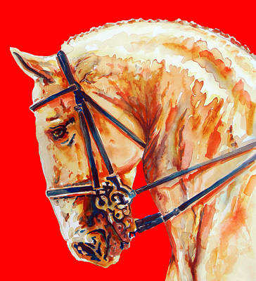 Golden Horse In Red Poster by J- J- Espinoza