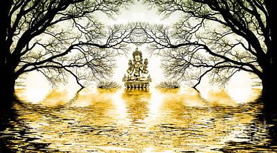 Golden Lake Of Stillness  Poster by Tim Gainey