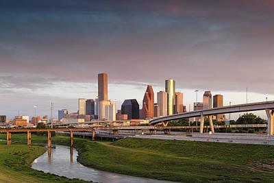 Golden Light On Downtown Houston Poster