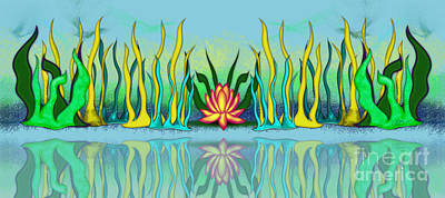Golden Lotus Poster by Linda Seacord
