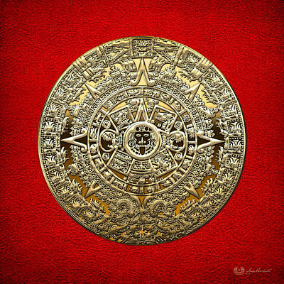 Golden Mayan-aztec Calendar On Red Poster by Serge Averbukh
