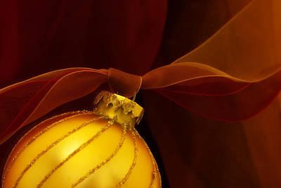 Golden Ornament With Red Ribbons Poster by Carol Leigh