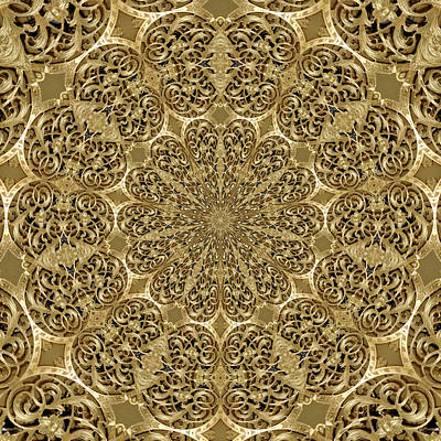 Golden Ornamental Flowers Engraving On Golden Surface 01 Poster by Nenad Cerovic