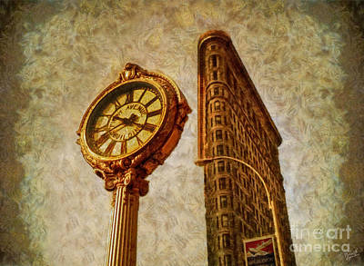 Flat Iron Building And Fifth Avenue Clock Poster