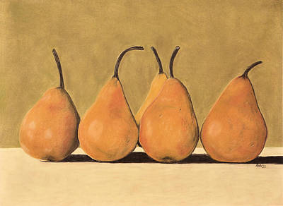 Poster featuring the pastel Golden Pears  by Jan Amiss