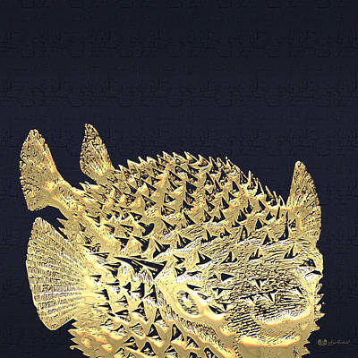 Golden Puffer Fish On Charcoal Black Poster by Serge Averbukh