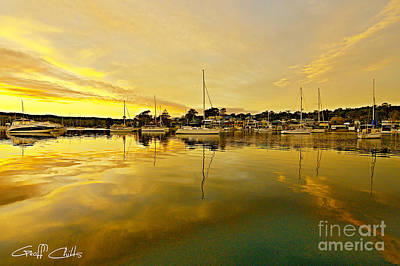 Golden Reflections Waterscape Sunrise With Boats  Poster by Geoff Childs