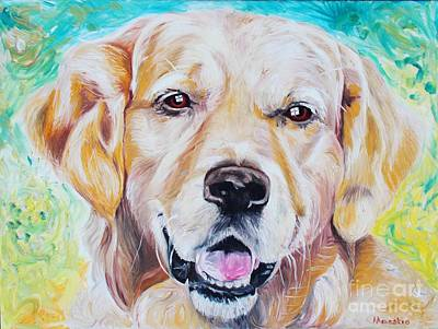 Poster featuring the painting Golden Retriever by PainterArtist FINs husband Maestro