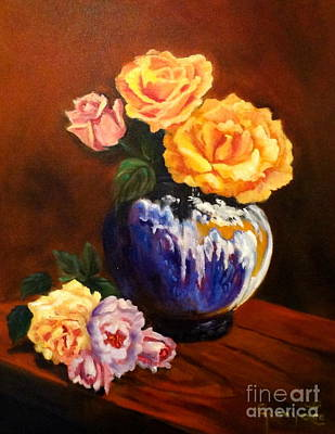 Poster featuring the painting Golden Roses by Jenny Lee