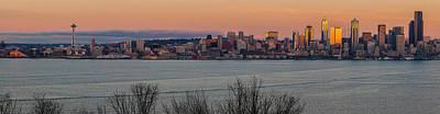 Golden Seattle Skyline Sunset Poster by Mike Reid