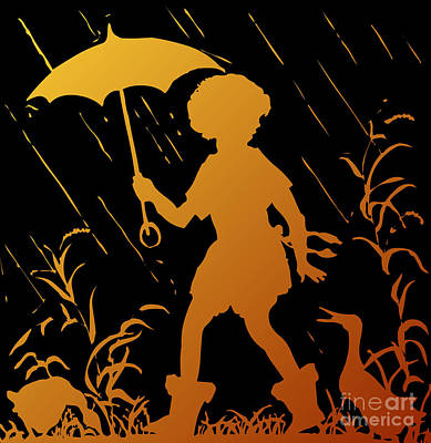 Golden Silhouette Of Child And Geese Walking In The Rain Poster