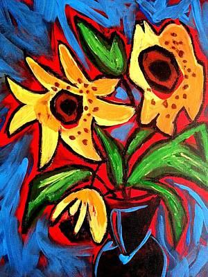 Golden Sunflowers Poster