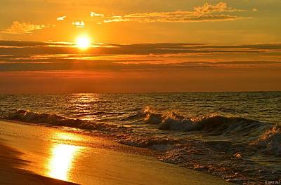 Golden Sunrise Colors With Waves And Horizon Clouds On Navarre Beach Poster