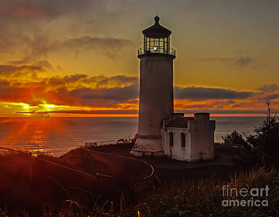Golden Sunset At North Head Lighthouse Poster by Robert Bales