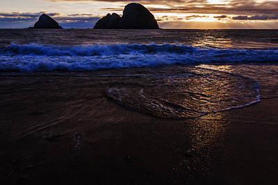 Golden Sunset Oregon Coast Usa Poster by Vishwanath Bhat
