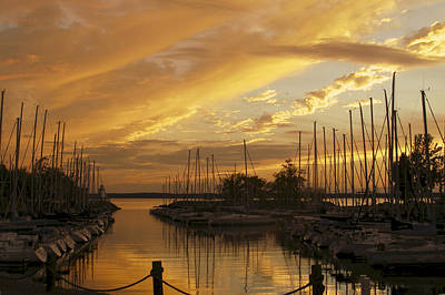 Golden Sunset With Sailboats Poster