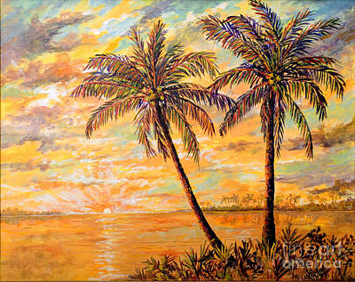 Poster featuring the painting Golden Tropics by Lou Ann Bagnall