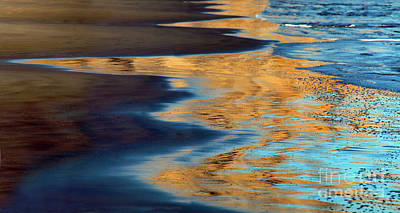 Golden Water Reflections Point Reyes National Seashore Poster by Wernher Krutein