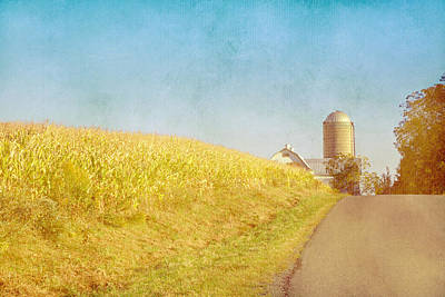 Golden Yellow Cornfield And Barn With Blue Sky Poster
