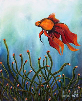 Poster featuring the painting Goldfish by Jolanta Anna Karolska