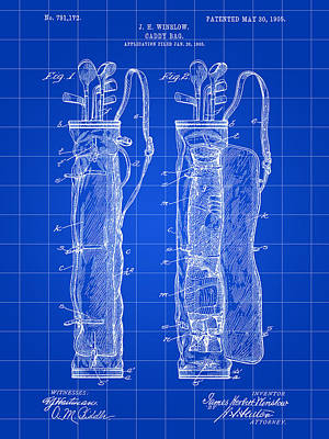 Golf Bag Patent 1905 - Blue Poster by Stephen Younts