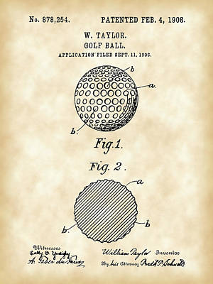 Golf Ball Patent 1906 - Parchment Poster by Stephen Younts