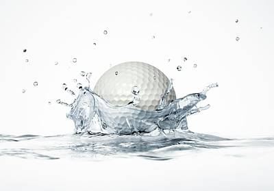 Golf Ball Splashing Into Water Poster by Leonello Calvetti