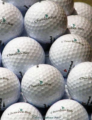 Golf Balls - Chambers Bay Golf Course Poster by Chris Anderson