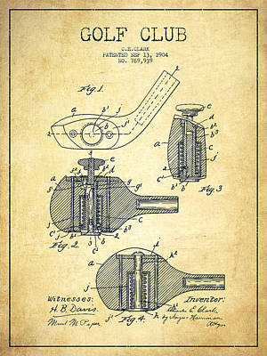 Golf Clubs Patent Drawing From 1904 - Vintage Poster by Aged Pixel