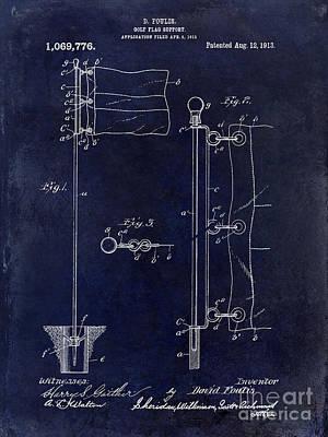 1913 Golf Flag Patent Blue Poster by Jon Neidert