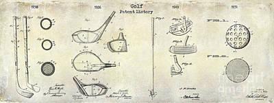 Golf Patent History Drawing Poster by Jon Neidert