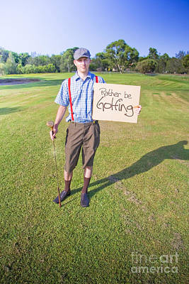 Golf Player Holding Sign Poster by Jorgo Photography - Wall Art Gallery