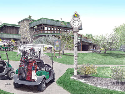 Poster featuring the painting Golf Seven Springs Mountain Resort by Albert Puskaric