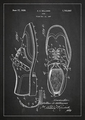 Golf Shoe Patent Drawing From 1927 Poster
