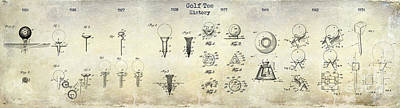 Golf Tee Patent History Drawing Poster by Jon Neidert