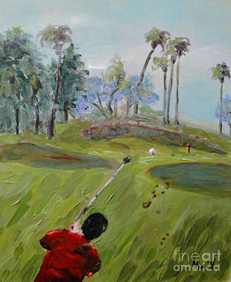 Poster featuring the painting Golfing At Monarch by Maria Langgle
