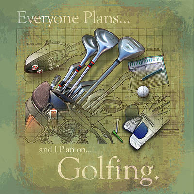 Golfing Poster by Jim Baldwin
