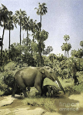 Gomphotherium Guiding Its Offspring Poster by Jan Sovak