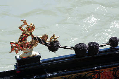 Gondola Ornament Triton Blowing A Seashell Venice Italy Poster by Sally Rockefeller