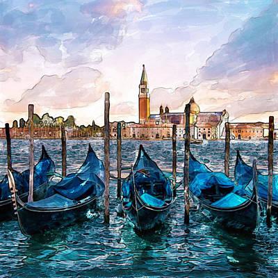 Gondolas In Venice Watercolor Poster by Marian Voicu