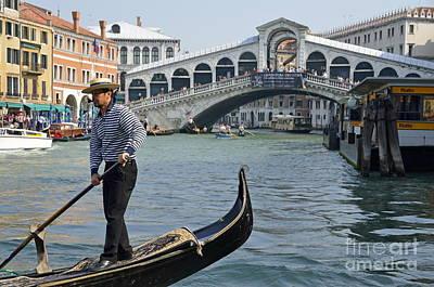 Gondolier On Gondola By Rialto Bridge Poster by Sami Sarkis