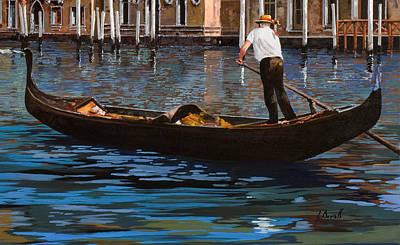 Gondoliere Sul Canale Poster by Guido Borelli