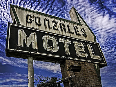 Poster featuring the photograph Gonzales Motel In Color by Andy Crawford